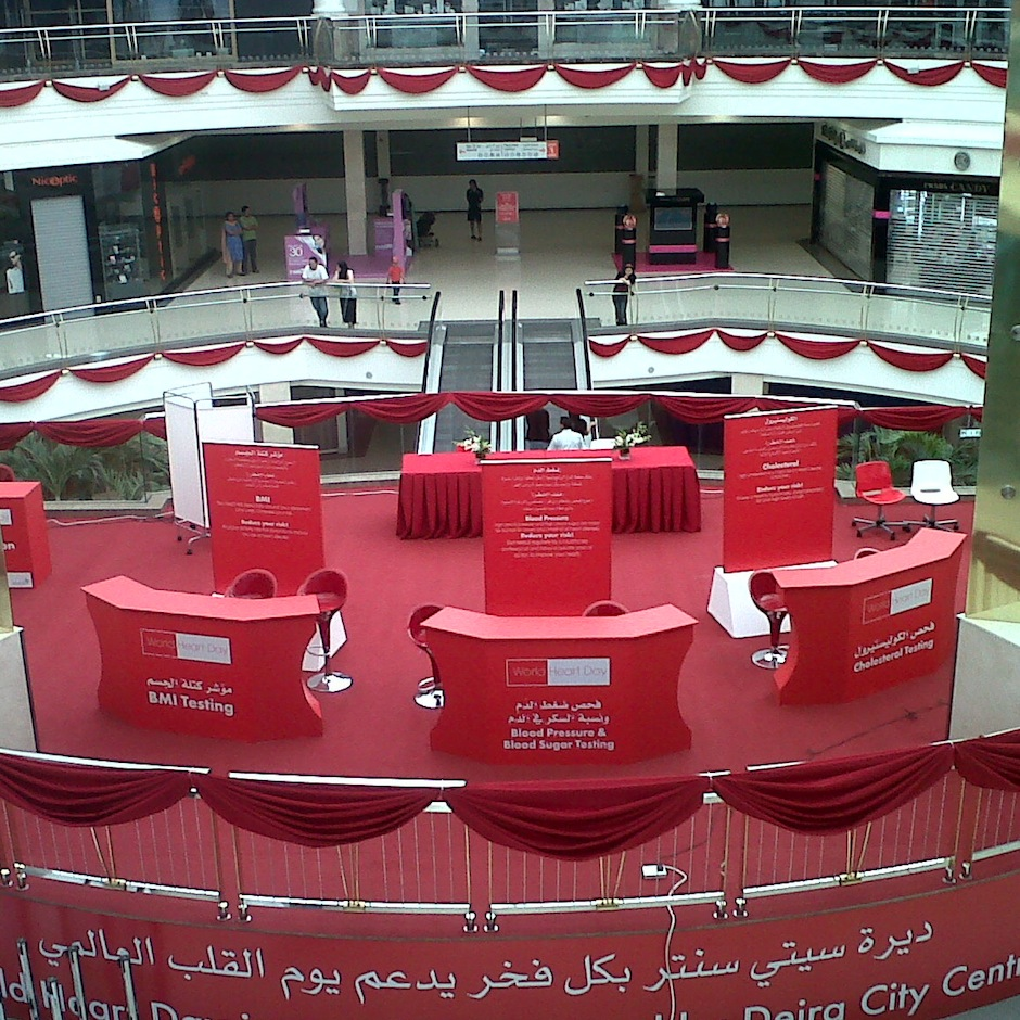square-deira-city-centre_world-heart-day_stage-set-up